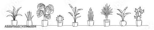 Photo Set of continuous one line drawing of a flowers in a pots