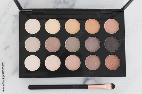 Stampa su Tela beauty industry and make-up products, eyeshadow palettes with nudes and bronzy t