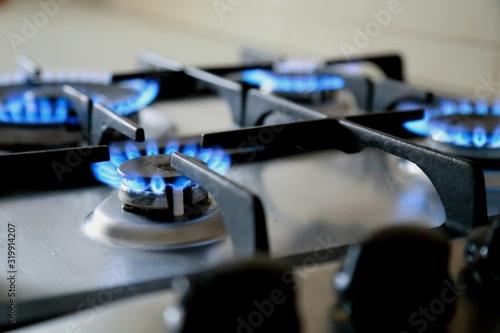 Close-Up Of Gas Stove Burners Fototapeta