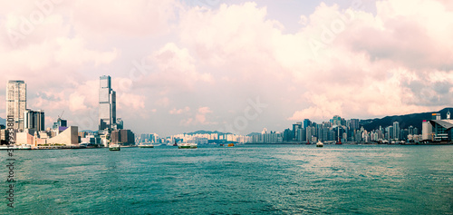 Panorama view between Hong Kong and Kawloon , Hong Kong
