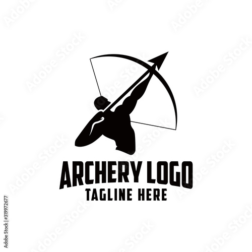 Obraz na płótnie Archer silhouette player vector. People are holding arrows.