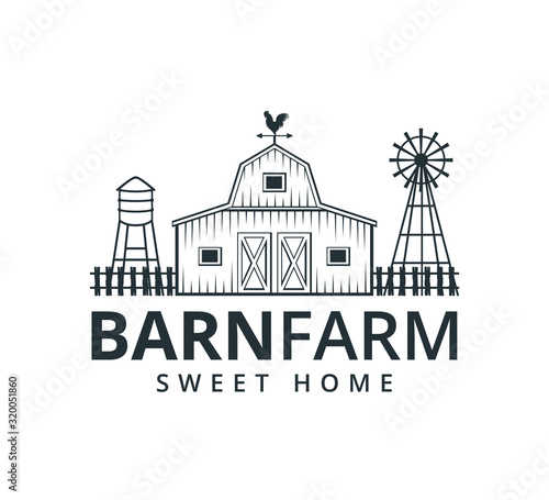 backyard barn farm house storage hangar with fence windmill and water torrent to Fotobehang