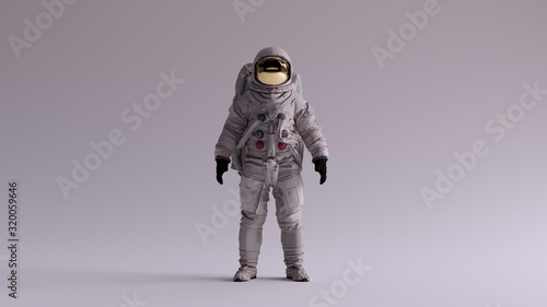 Fotografering Astronaut with Gold Visor and White Spacesuit With Light Grey Background with Ne