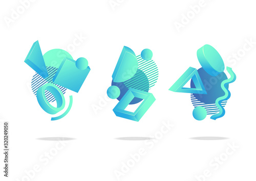 Obraz na płótnie Set of abstract futuristic dynamic badges, icons or blend shapes in trendy neo m