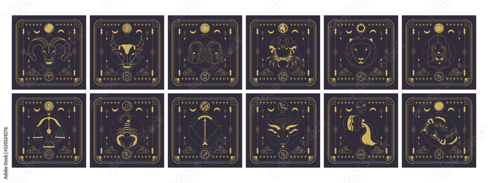 Set of zodiac signs icons. Astrology horoscope with signs and planets. <span>plik: #320324276   autor: Daria</span>