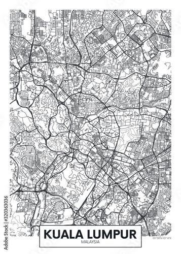 Obraz na plátně City map Kuala Lumpur, travel vector poster design