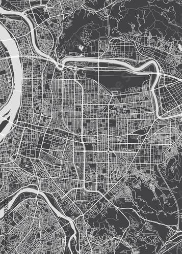 Fotografie, Obraz City map Taipei, monochrome detailed plan, vector illustration