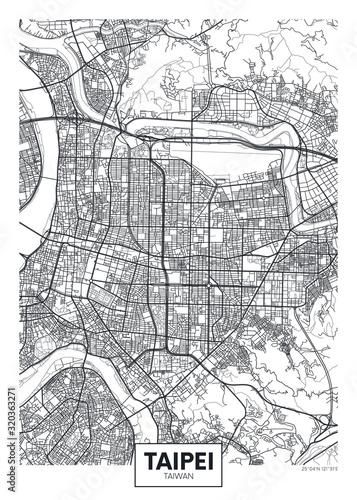 Obraz na plátně City map Taipei, travel vector poster design