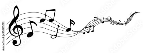 Fotografia Music notes wave isolated, group musical notes background – for stock