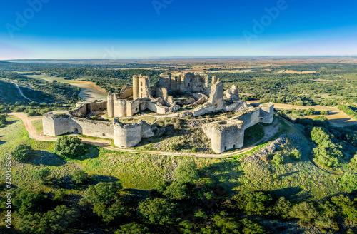 Canvas Print Aerial view of medieval castle ruin Pueble de Almenara in Cuenca Spain with conv