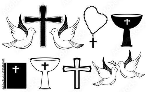 Fotografie, Tablou Set of christian black white icons for Christening, Resurrection, Easter