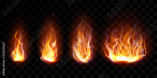 Valokuva Realistic fire, torch flame set isolated on transparent background