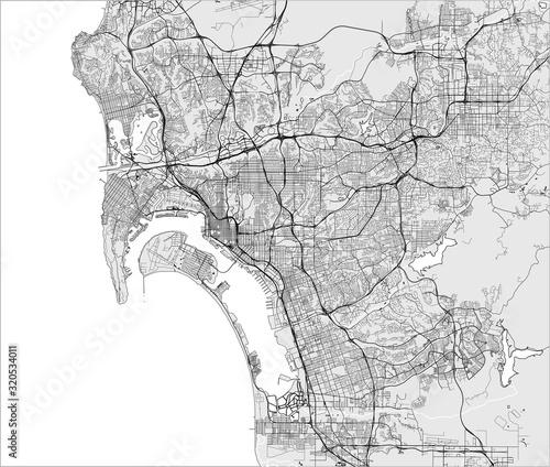 Fotografie, Obraz map of the city of San Diego, California, USA