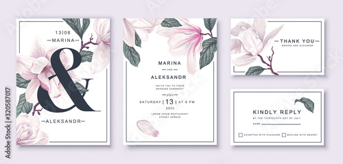 Fototapeta .Botanical wedding invitation card template design, white magnolia flowers and l