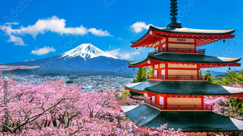 Fotografie, Obraz Cherry blossoms in spring, Chureito pagoda and Fuji mountain in Japan