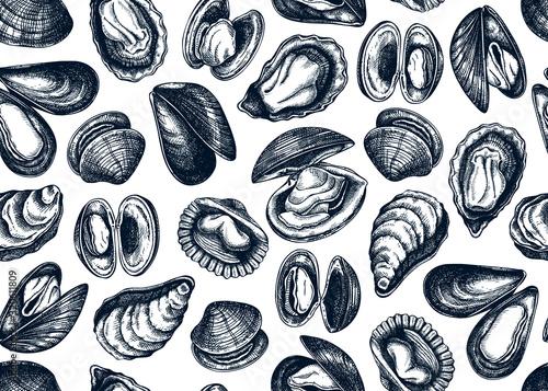 Hand drawn edible marine mollusks seamless pattern Tapéta, Fotótapéta