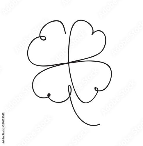 Saint patrick clover leaf, Continuous line art Fototapeta