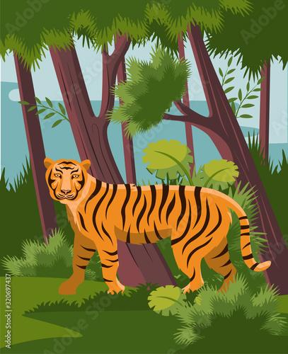 Fotografie, Obraz bengal tiger in jungle vector