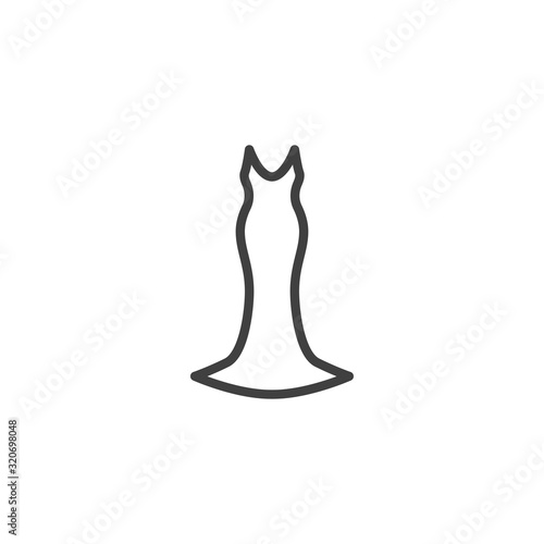 Fotografering Elegant evening dress line icon