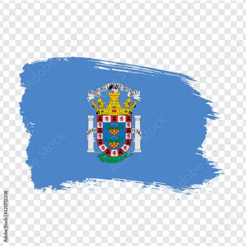 Flag of Melilla brush strokes. Flag Melilla of Spain on transparent background for your web site design, logo, app, UI. Kingdom of Spain. Stock vector. EPS10.
