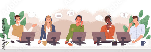 Fotomural Hotline workers wearing headsets, customers services and communication vector