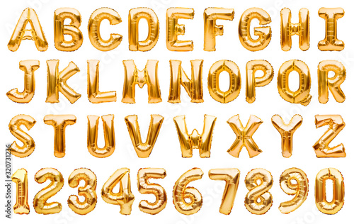 Fotografie, Obraz English alphabet and numbers made of golden inflatable helium balloons isolated on white
