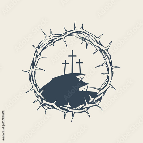 Photo Vector banner, icon or emblem with mount Calvary and three crosses inside a crown of thorns