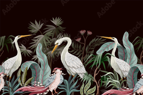 Fotografia Border in chinoiserie style with storks and peonies. Vector.