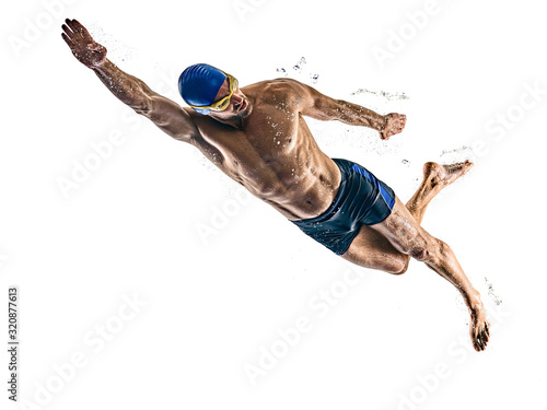 Fotografia man sport swimmer swimming isolated white background