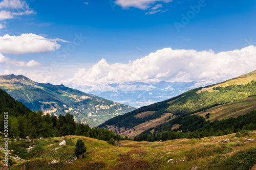 Fotografia Panorama on the Rhone valley taken from high up in the Pennine Alps above the al