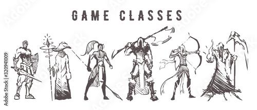 Fotografie, Obraz Sketch of game classes of multiplayer games