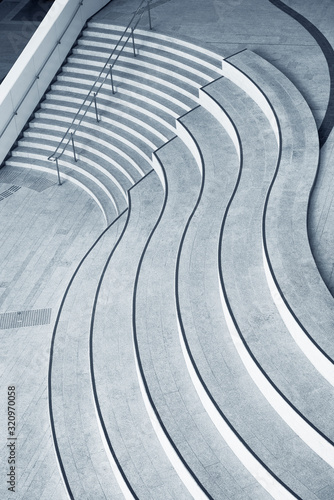 Stampa su Tela Stairway of modern architecture. Building abstract background