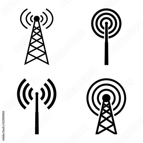 Billede på lærred broadcast, transmitter antenna icon, logo isolated on white background