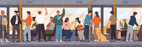 Different cartoon people go by public transport vector flat illustration Fototapet