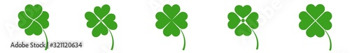 Fotografie, Tablou Shamrock Icon Green | Shamrocks | Four Leaf Clover | Irish Symbol | St Patrick's