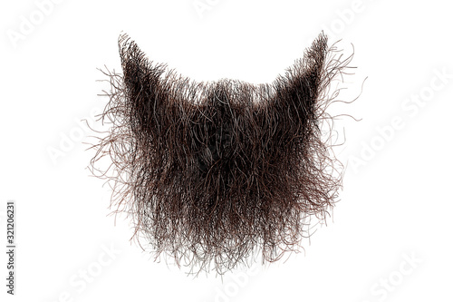 Fotografia Disheveled brown beard isolated on white. Mens fashion