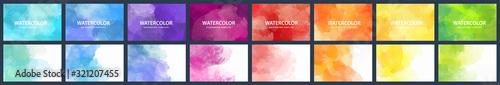 Fotografie, Obraz Bundle set of vector colorful watercolor backgrounds for business card or flyer