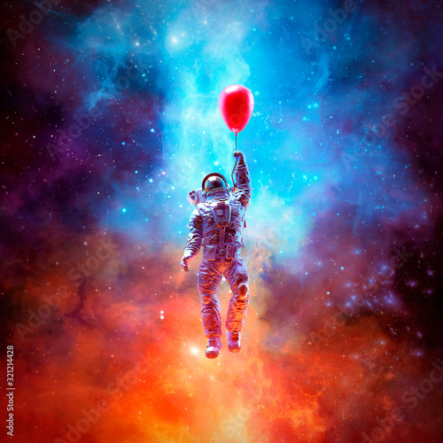 Stampa su Tela Dream of escape / 3D illustration of surreal science fiction scene with astronau
