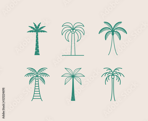 Vector logo design template with palm tree - abstract summer and vacation badge and emblem for holiday rentals, travel services, tropical spa and beauty studios Wall mural