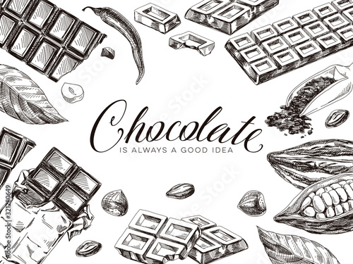Leinwand Poster Border composition of chocolate and cocoa, hand drawn vector illustration