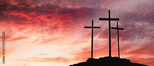 Foto Crucifixion Of Jesus Christ At Sunrise