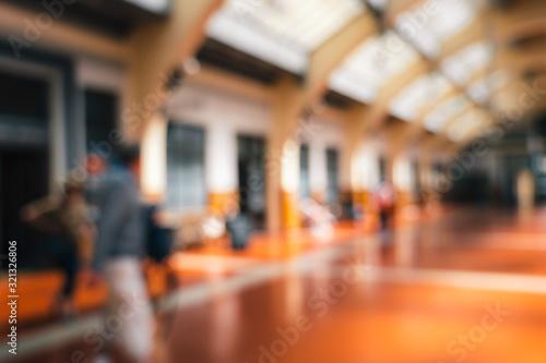Blur image of People passing through Wellington Railway Station, New Zealand