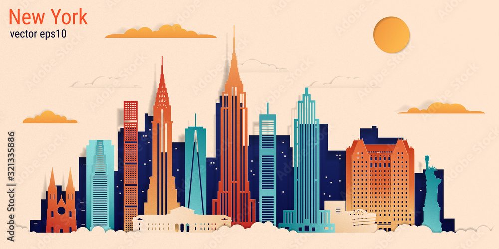 New York city colorful paper cut style, vector stock illustration. Cityscape with all famous buildings. Skyline New York city composition for design. <span>plik: #321335886   autor: Anastasiia</span>