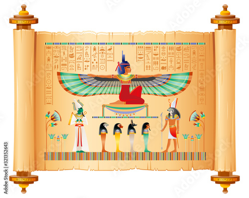 Egyptian papyrus with gods and goddess Poster Mural XXL