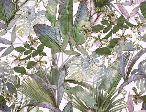 Tropical seamless pattern with tropical flowers, banana leaves.