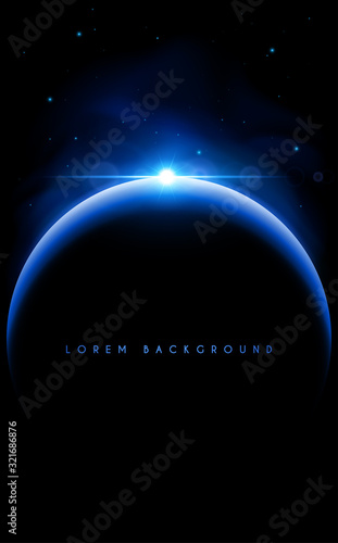 Wallpaper Mural Planet with blue light space and stars