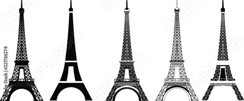 Fotografia, Obraz Silhouette and isolate Eiffel tower at Paris of France.