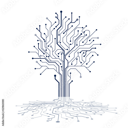 Circuit tree silhouette. Technology background design. Computer engineering hardware system. Vector