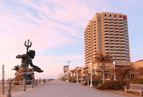 The King Neptune Statue at Virginia Beach Before Sunrise. Fototapeta