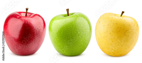 Fotografia colorful apples, red green and yellow fruit, isolated on white background, clipp